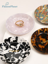 FlaneurPlanet Tiny Gold Foiled Personalized Monogram Tortoiseshell Acetate Ring Dish Bridesmaid Gift Jewelry Tray