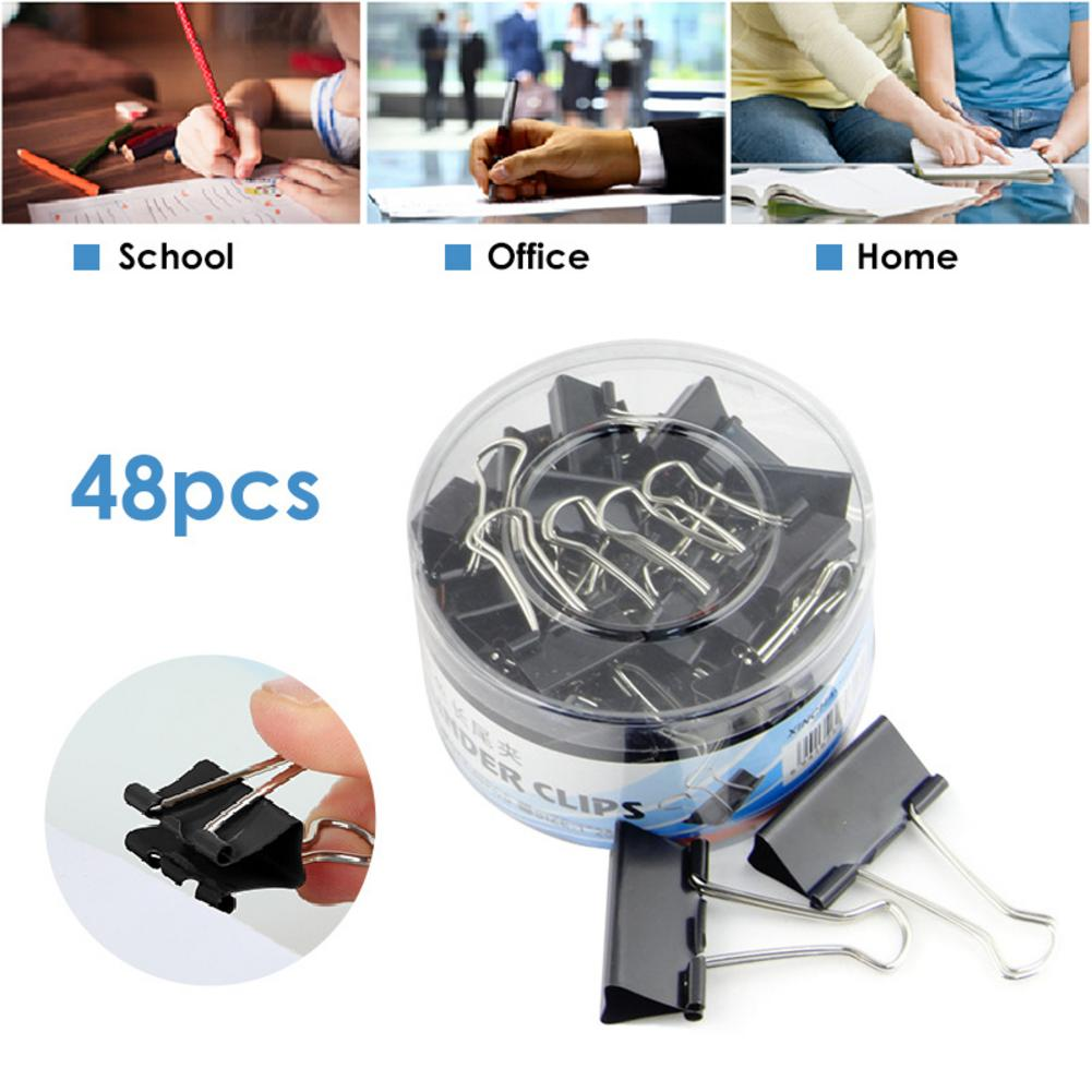 48 PCS 25mm Bill Document Organization Storage Long Tail Clip Office Supplies Metal Dovetail Clamp