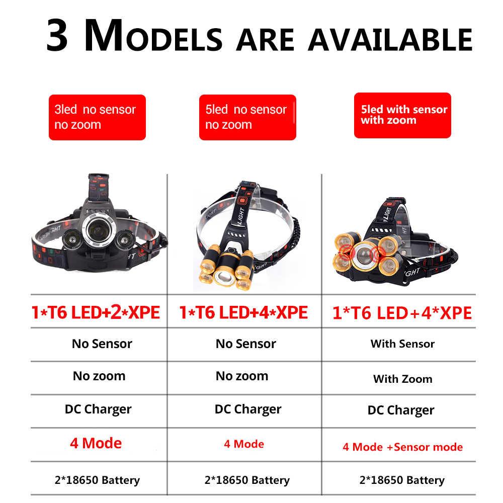 Potente faro LED 5LED T6, lámpara de cabeza, 8000 lúmenes, linterna, linterna de cabeza, 18650 batería, ideal para Camping, pesca