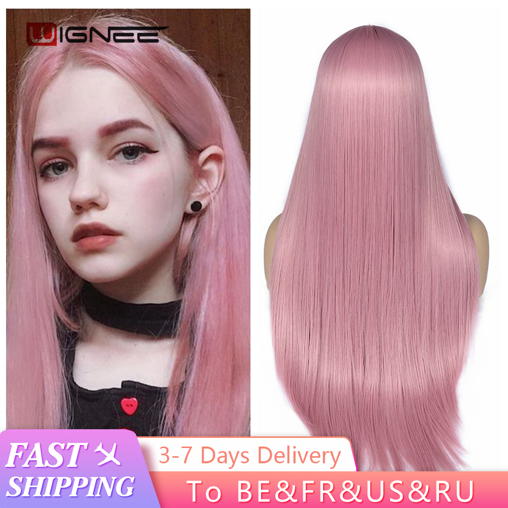 Permalink to -52%OFF Wignee Pink Long Straight Hair Synthetic Wig For Women Hair Bundle With Closure Daily/Party Heat Resistant Glueless Hair Wigs