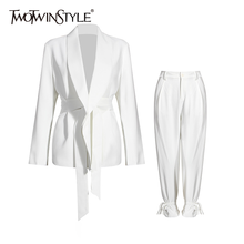 TWOTWINSTYLE Casual White Two Piece Set For Women V Neck Long Sleeve Blazer High Waist
