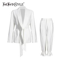 TWOTWINSTYLE Casual Weiß Zwei Stück Set Für Frauen V Neck Langarm Blazer Hohe Taille Breite Bein Hosen Koreanische Sets weibliche 2020