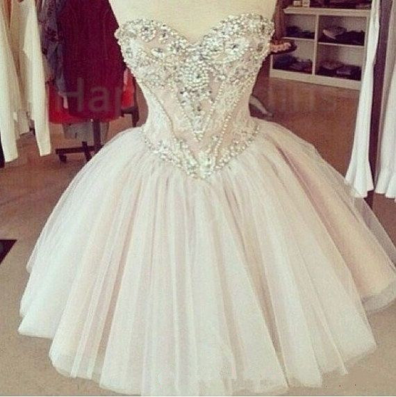 Beautiful Sweetheart Crystal Beaded Lace Ball Gown Vestido De Festa Custom Made Sleeveless Short Tulle Homecoming Dresses 2016