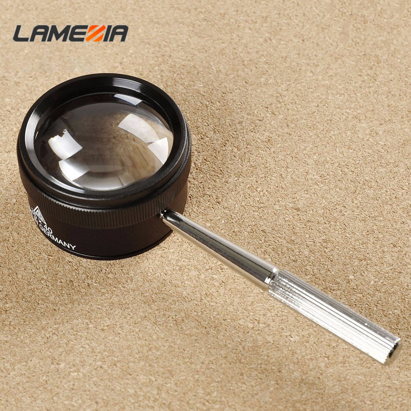 LAMEZIA 40mm 30X Portable Handheld Microscope Jewelry Magnifying Opticals Glass For Watch Repair Tool Handle Loup Magnifier
