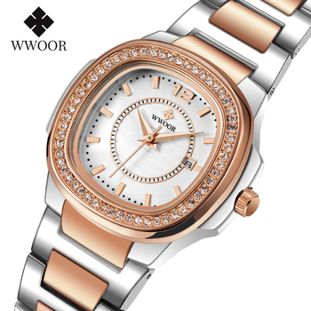 WWOOR Elegant Female Watch Luxury Brand 30M Waterproof Date stainless steel Rose Gold Quartz Watch Women Diamond Wristwatch 2020 miss fox brand luxury womens dress watch full diamond rhinestone stainless steel gold quartz female wristwatch relogios feminino
