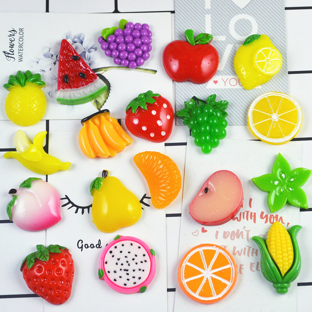 10Pcs/lot Colorful Fruit Charms Slime Filler Stress Relief DIY Polymer Addition Slime Accessories Toy Model Tool For Kids Toys