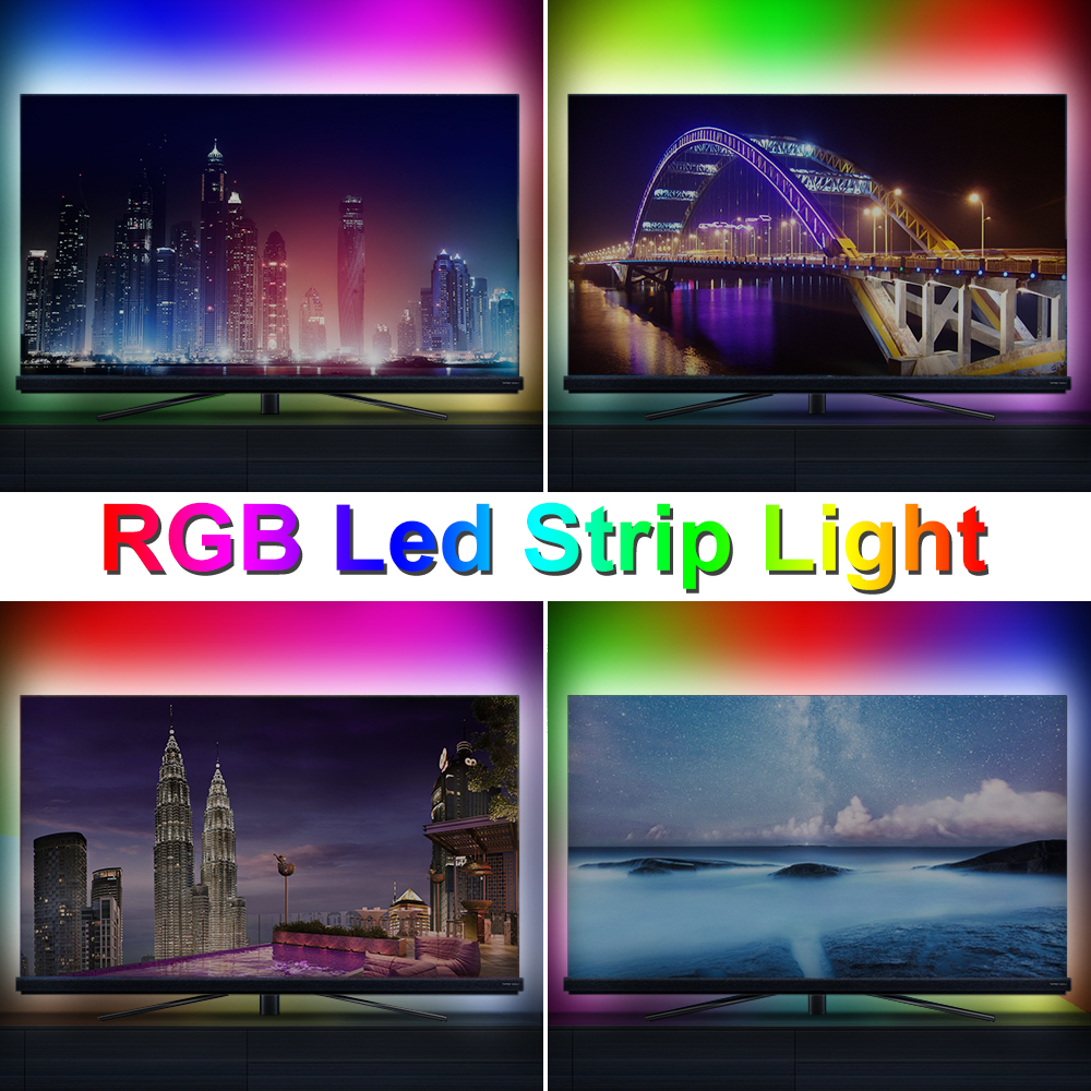 USB 5V RGB LED Strip Light TV Backlight 2835 Lighting Desktop Led Strip Lights Lamp Tape Diode Ribbon Indoor Decorate Wall lamp in LED Strips from Lights Lighting