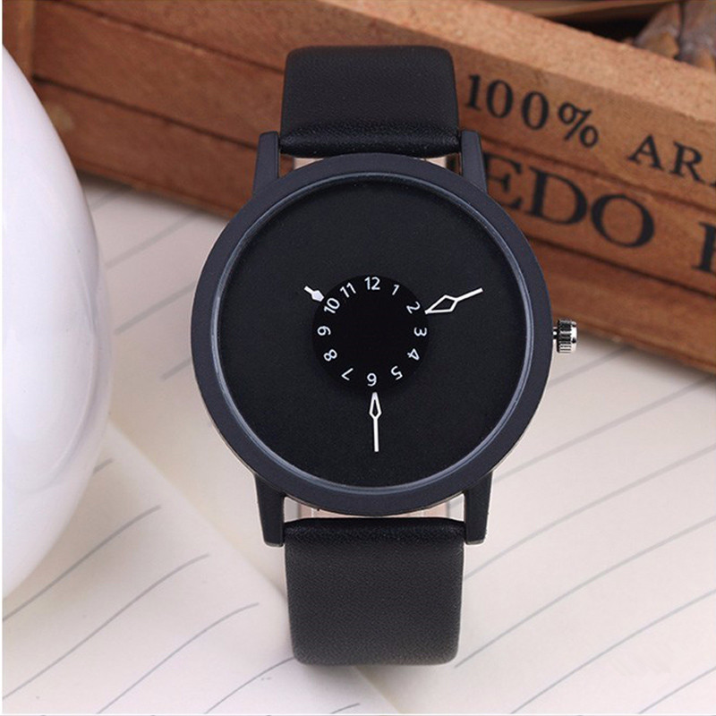 Hot Creative Watch Unique Dial Design Lover's Watch Fashion Casual Women Men Quartz-watch Minimalist watch Leather Wristwatches