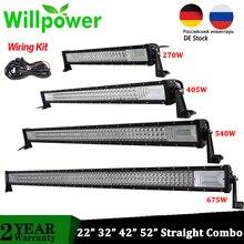 "Willpower Tri ROW 22 ""32"" 42 ""52"" Offroad LEDบาร์ตรงComboรถLEDขับรถwork LightbarสำหรับรถบรรทุกรถATV 4X4 รถกระบะ"
