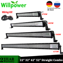 "Willpower Tri Row 22"" 32"" 42"" 52"" Offroad Led Bar Straight Combo Car LED Driving Work Lightbar for Car ATV Truck 4X4 Pickup"