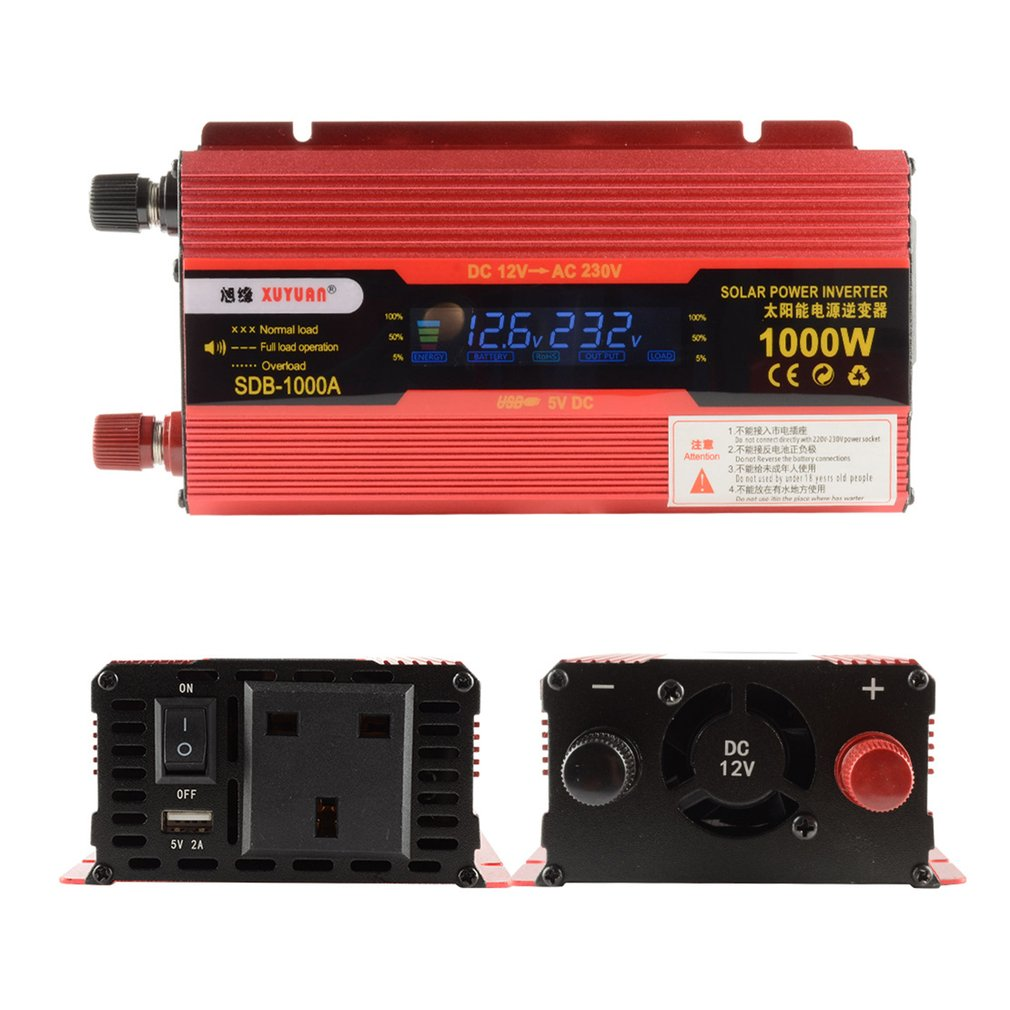 XUYUAN 1000W Car Power Inverter DC 12V To AC 220V Converter LCD Display USB Charger Adapter Portable Auto Modified Save UK