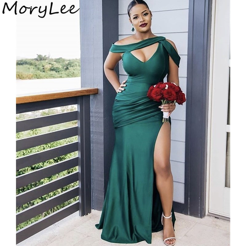 Green Bridesmaid Dresses African Mermaid Sweep Train Side Slit Silk Satin Pleated Wedding Party Bridemaid Dresses With Zipper