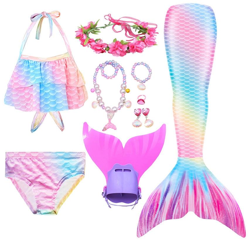 Schwimmen Meerjungfrau Schwanz Kinder Mädchen Kostüm Cosplay Kinder Badeanzug Fantasie Strand Bikini Können Hinzufügen Monofin Fin
