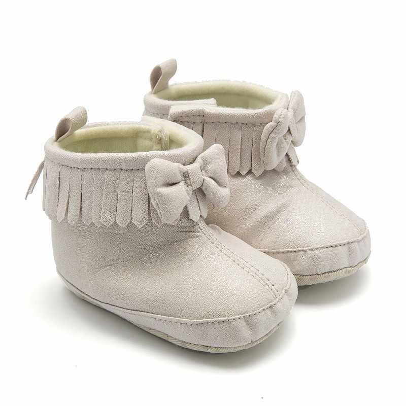 Leuke Strik Baby Winter Laarzen Winter Warm Jongen Meisje Laarzen Dikke Snowboots Voor Pasgeboren Effen Kleur Baby Peuter Laarzen schoenen