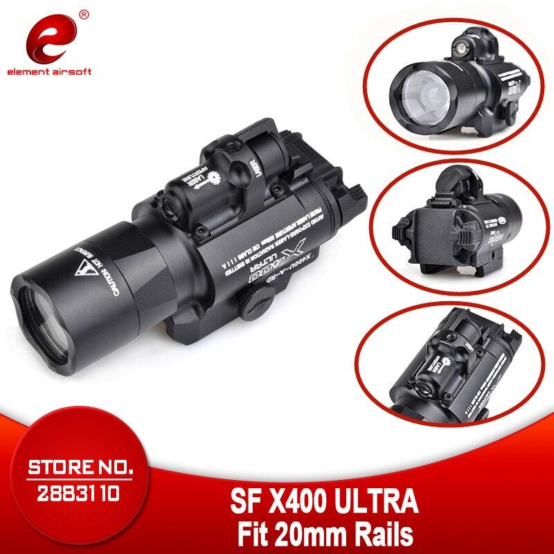 Element Airsoft Surefir X400 CREE Ultra arme pistolet à LED M4 fusil lampe de poche Laser rouge sous-canon lampe Combo vue X400U EX367