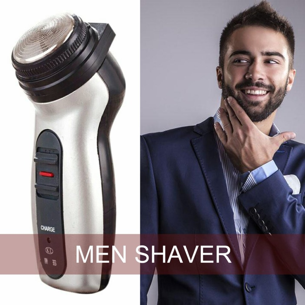 Dual Use Men Shaver Rechargeable Stainless Steel Blade Shaving Machine Razor Rotating Portable Electric Beard Trimmer