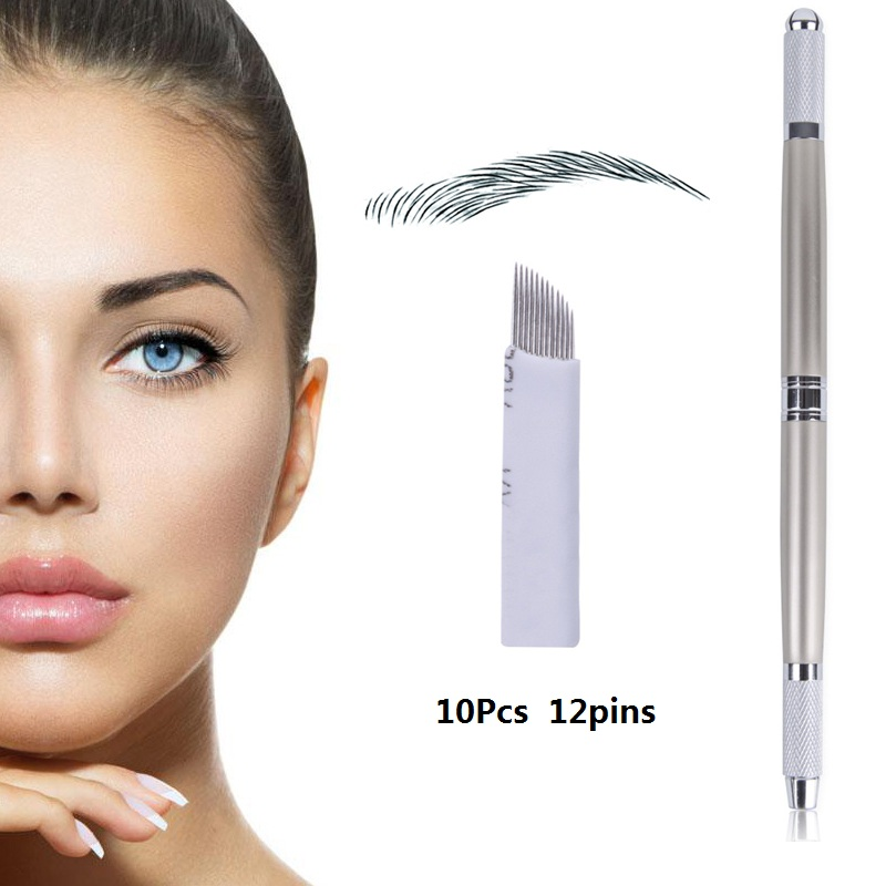 Biomaser 3D Eyebrow Microblading Pen Eyebrow Tattoo Machine Permanent Makeup Manual Microblading Penna With 12pins Needles