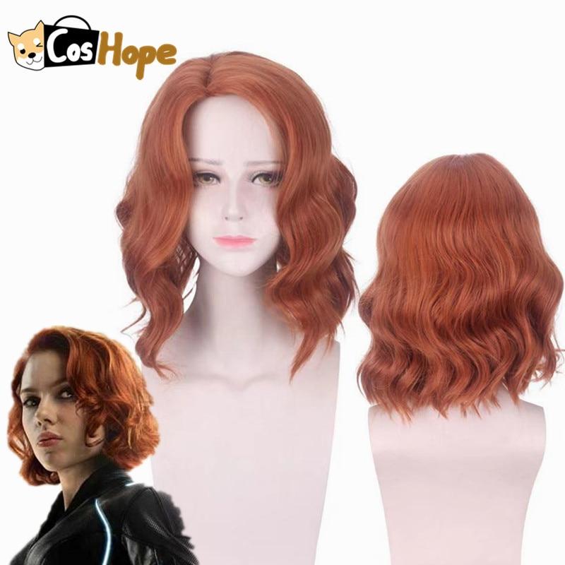 Avenger Black Widow Cosplay Natasha Romanoff Short Curly Wave Wig Heat Resistant Synthetic Wigs Halloween Cosplay For Women