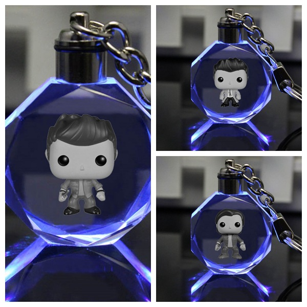 Supernatural Keychain Dean Sam Castiel Square Shape Crystal Key Chain Cute Fun Cartoon Pendant Jewelry Fashion Personalized LED