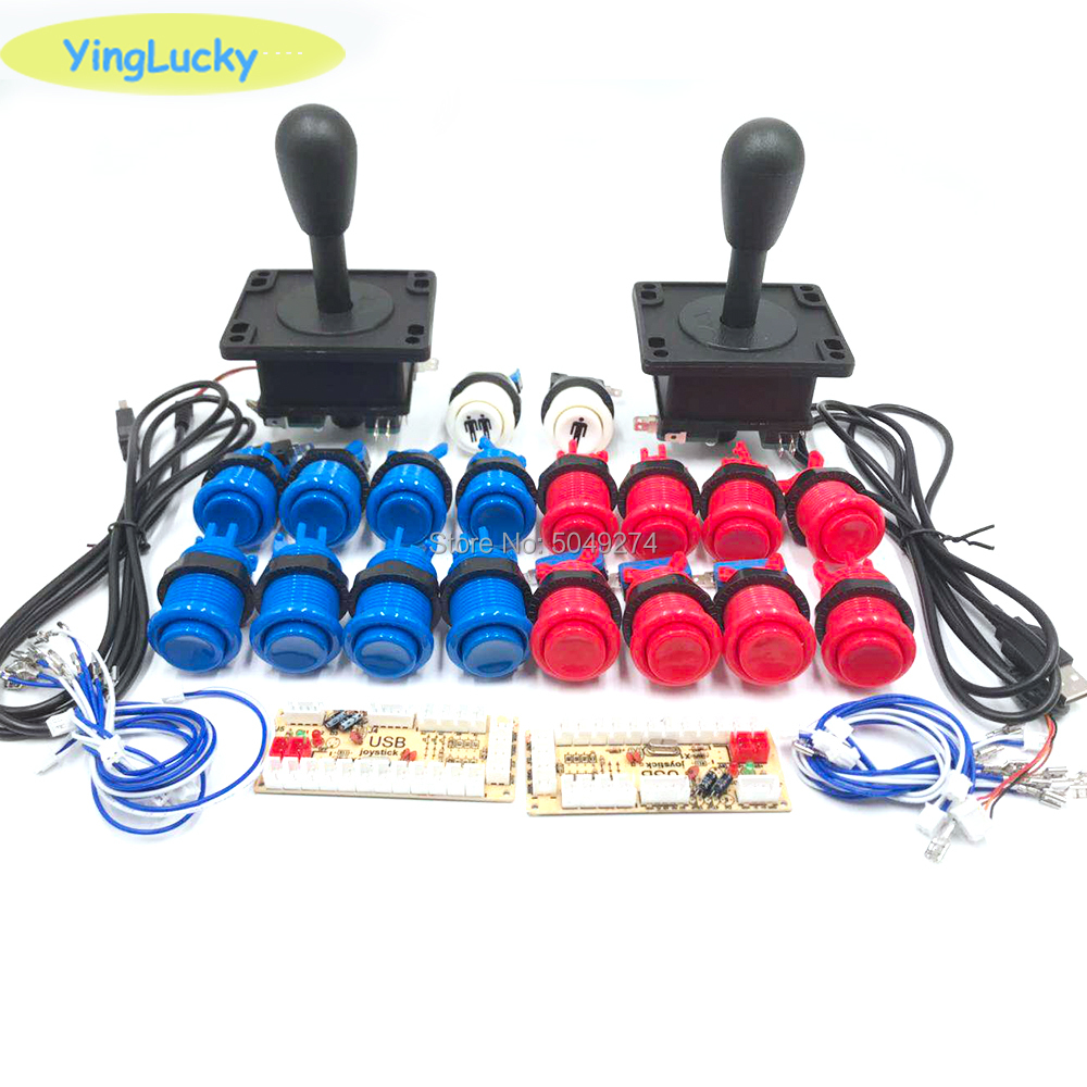 2 Players Arcade DIY Kit Zero Delay USB Encoder American Style Joystick 28mm Push Button PC Mame Raspberry Pi 1 2 3