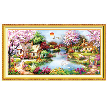 Ldyllic House Scenery Special Shaped Decoration 5D DIY Diamond Painting Embroidery Round Diamond Set Cross Stitch Mosaic Gift