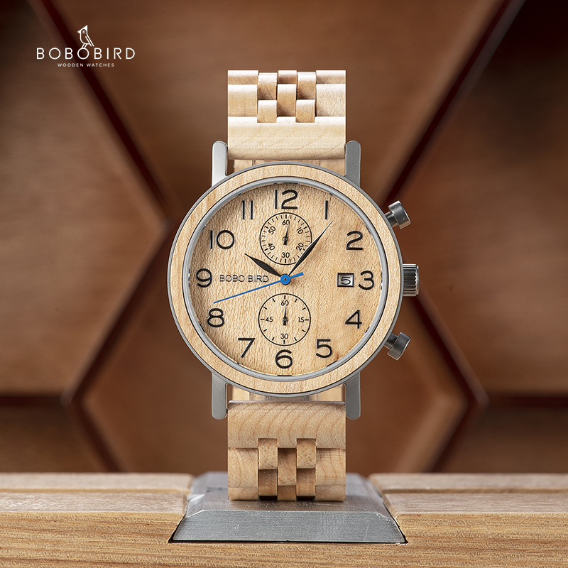 Watch Man Wooden-Band Accept Bobo Bird Husband's Luxury Brand Saati Gift Erkek Kol Great title=