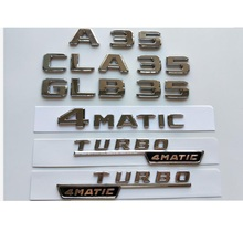Chrome Silver Letters Trunk Badges Emblems Emblem Badge for Mercedes Benz W177 A35 C118 X118 CLA35 GLB35 AMG TURBO 4MATIC