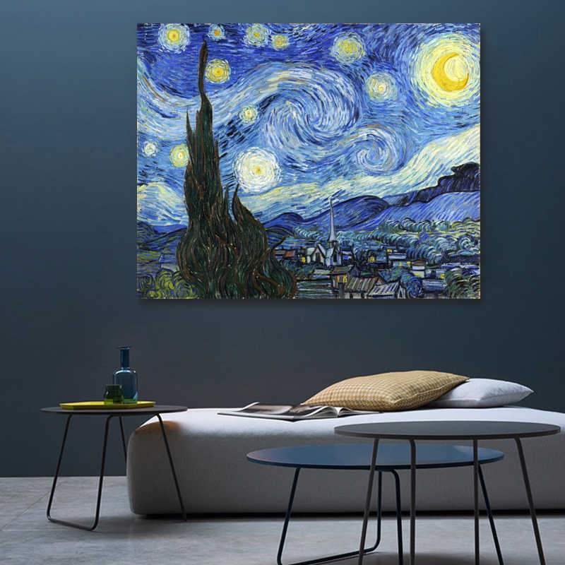 Van Gogh Famous Print Canvas Painting Starry Night Poster Wall Pictures For Living Room Posters And Prints Wall Art No Frame