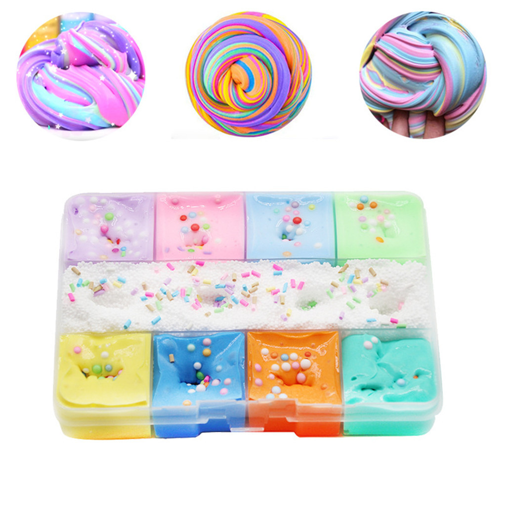 Decompression Toys 200ml 9 Color Mixing  Cloud Cotton Candy Slime Kids Clay Toy Kids Toys Children Birthday Gift