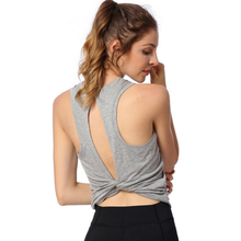 Sexy Backless Fitness Yoga Tops Women Sleeveless Gym Workout Shirts Vest Quick Dry Loose Sport Tank Top Running Training T Shirt все цены
