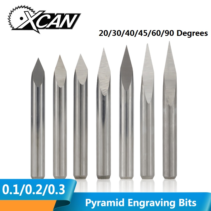 XCAN 10pcs 20/30/40/45/60/90 Degrees Tip 0.1-0.3mm 3 Edge Pyramid Engraving Bits 3.175mm Shank CNC 3D Milling Cutter