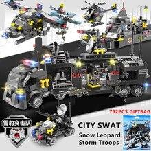 792Pcs SWAT Snow Leopard Storm Troops Warship Police City Building Blocks Set LegoINGLs Technic Brinquedos Bricks Playmobil Toys
