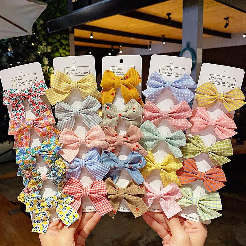 Hairpins Headband Bow-Accessories Barrettes Star Plaid Girls Sweet Kids Fashion Children