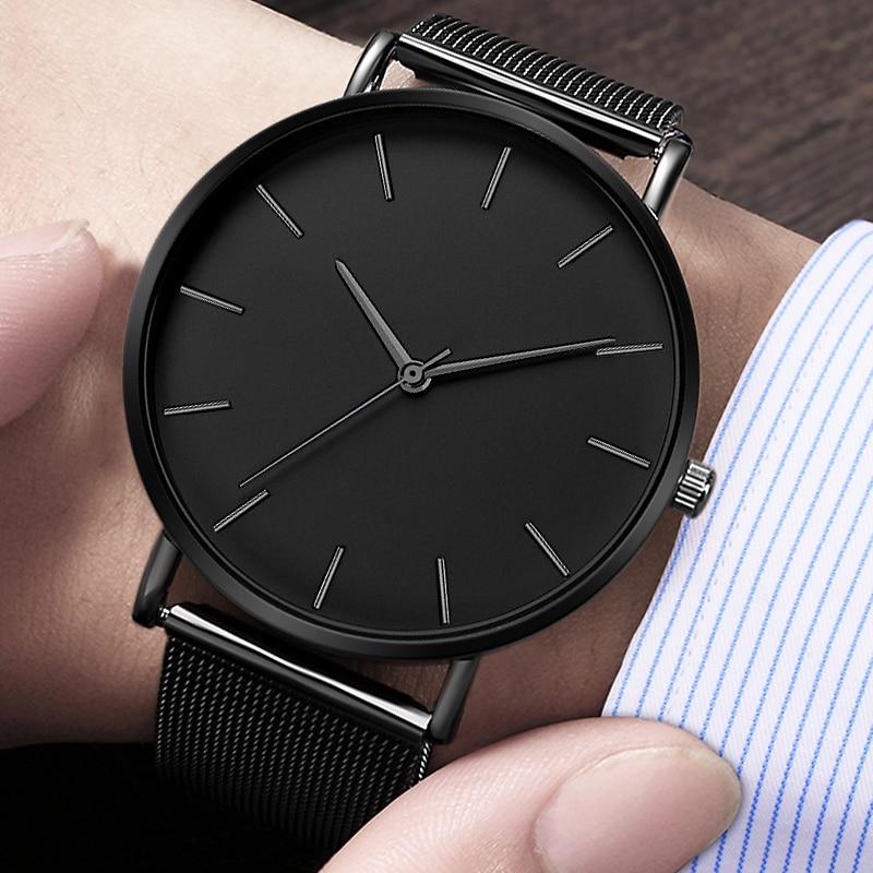 Men Watch Casual Quartz Watches Simple Metal Hour Reloj Quartz Watch Stainless Steel Mesh Watch Erkek Kol Saati Masculino Clock
