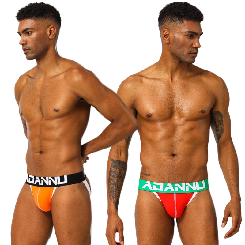 Gay Men Underwear Jockstraps Para Homens Gays Thong & G-Strings Man Underpants Elephant Solid Briefs Men Ropa Interior Masculina