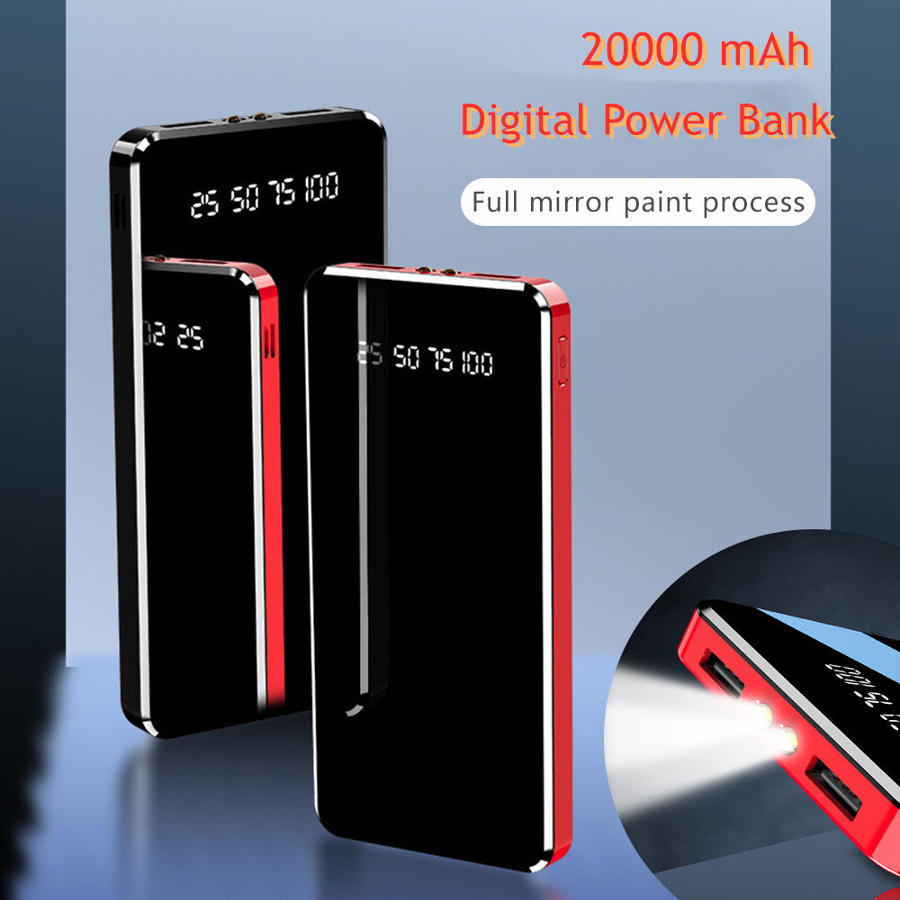 Зеркальный светодиодный внешний аккумулятор с цифровым дисплеем 20000 мА/ч, портативное Внешнее зарядное устройство 10000 мА/ч, внешний аккумул...