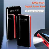 Mirror LED Digital Display 20000 mAh Power Bank Portable External Battery Charger 10000mAh Powerbank For iPhone 7 Samsung Xiaomi