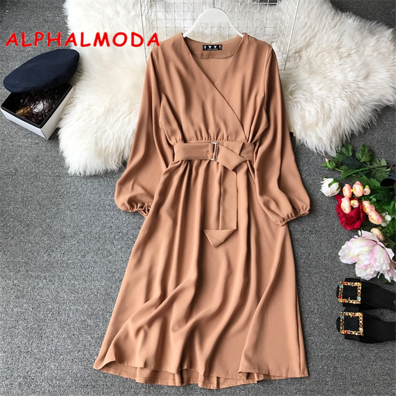 ALPHALMODA  Autumn Long-sleeved Sashes Office Ladies New Casual Chiffon Dress High Waist V-neck Solid Female Mid-calf Vestidos