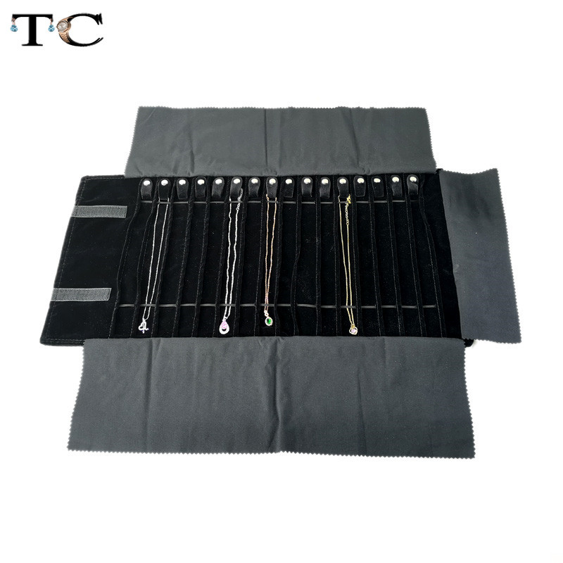 Fashion Black Velvet Jewelry Roll Bag for Jewellery Pendant Organizer Storage Bag Portable Necklace Display Cases