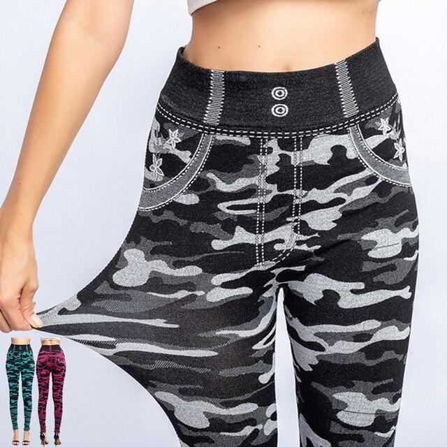 2021 Fitness Leggings 3/4 Lady Faux Jean Pants Women High Waist  Super Elastic Slim Jeggings Plus Size 3XL Short Leggings 4