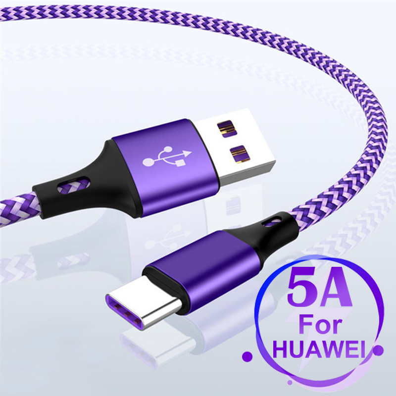 5A USB C SuperCharge Cable USB Type C Cable For Huawei Mate 20 P20 Pro Honor 10 Fast Charging USB Type C USB Cable For Samsung