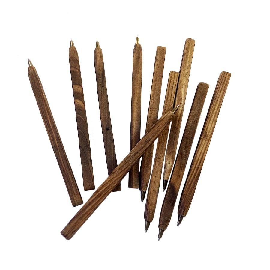 3pcs/lot Retro Environmental Wooden Ballpen Stationery Ball Point Pen Office School Wood Pen Fashion Gifts