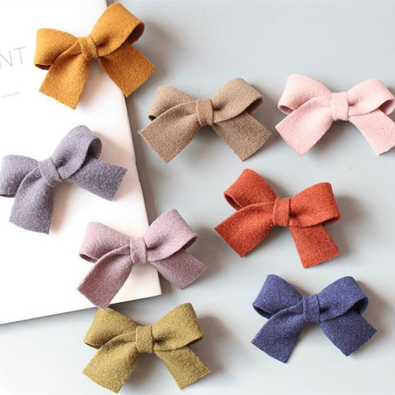 8Pcs New Women Woolen and Corduroy Bow Hairpins Girls Lovely Hair Clips Hair Ties Ropes   Headwear   Accessories Barrettes