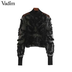 Image 1 - Vadim 女性セクシーな透明なメッシュショートブラウス長袖クロップトップ女性スタイリッシュなパーティークラブシャツ blusas LB543