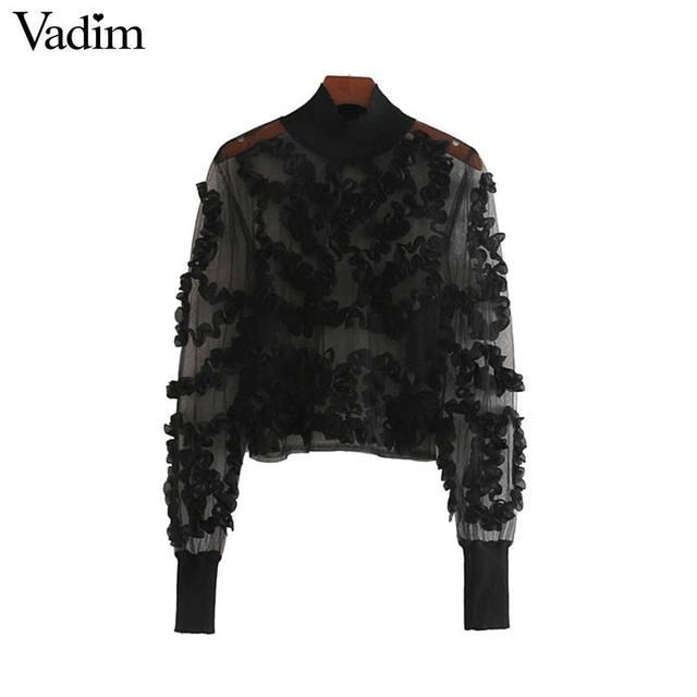 Vadim 女性セクシーな透明なメッシュショートブラウス長袖クロップトップ女性スタイリッシュなパーティークラブシャツ blusas LB543
