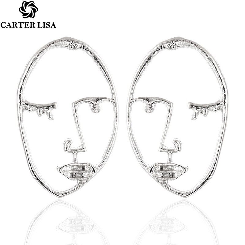 CARTER LISA Unique Personality Exaggerated Metal Hollow Abstract Human Face Body Stud Earrings For Women Jewelry Gift