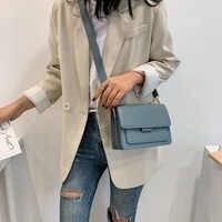 Mode Frau Schulter Tasche PU Leder Jugend Damen Kleine Quadratische Tasche licht Wilden Einfache Weibliche Täglichen Messenger Tasche Wasserdicht Blau