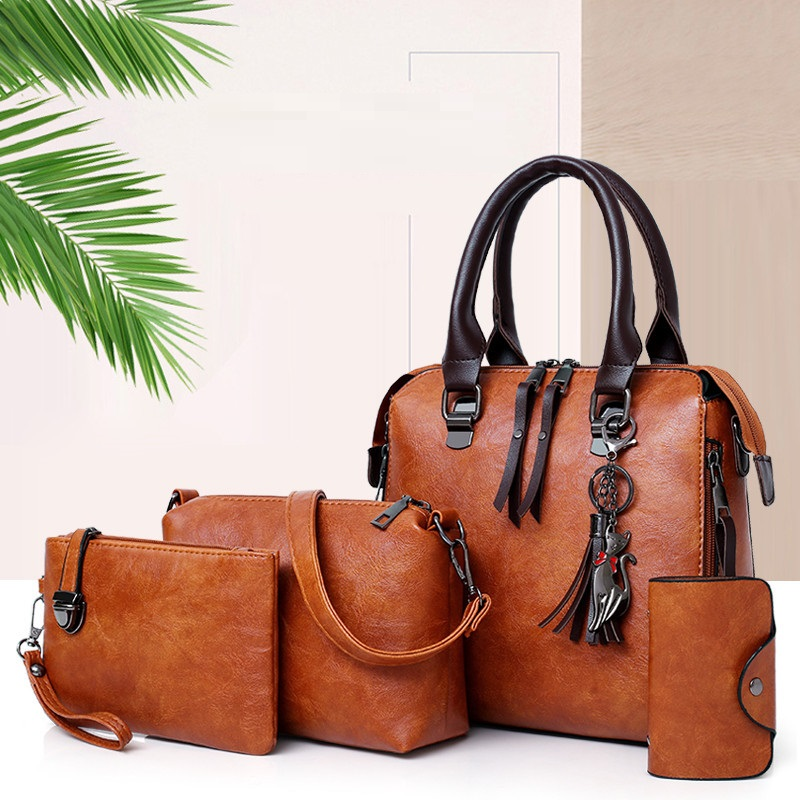 4pcs set Child package Women shoulder bags Fashion Retro pu leather women's handbag women's Crossbody Bags female wallet clutch