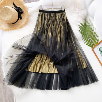 Fashion Sequin Tulle Skirt Women 2020 Spring Summer Korean Style Long Maxi Skirt Female High Waist Pleated Harajuku Skirts