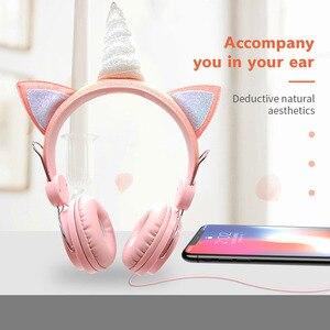 Image 3 - Auriculares con cable de unicornio para mujer cascos de música para niños, Jack de 3,5mm, para videojuegos, teléfono móvil, ordenador, niña, regalos